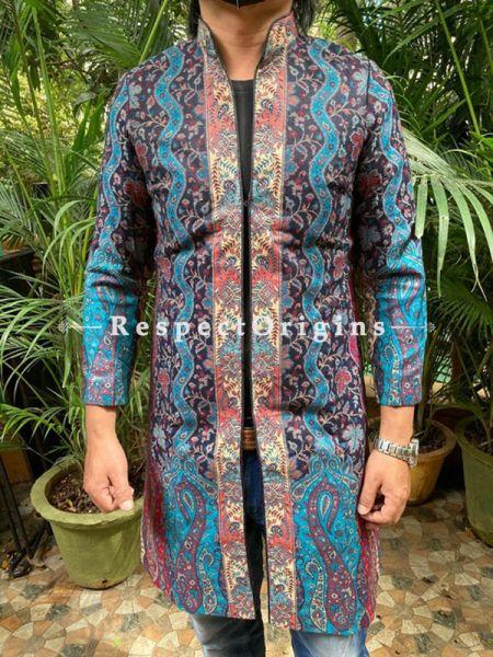 Blue Lavish Formal Mens Designer Detailing Jamavar Jacket in Wool Blend; Silken Lining; RespectOrigins.com