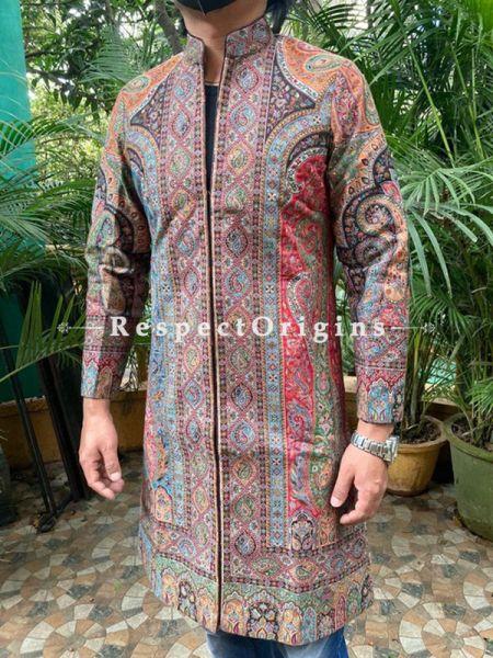 Brown luxuriant Formal Mens Designer Detailing Jamavar Jacket in Wool Blend; Silken Lining; RespectOrigins.com