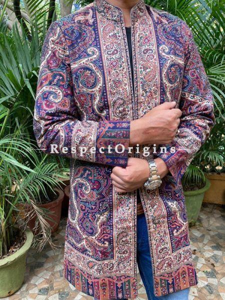 Purple Lavish Formal Mens Designer Detailing Jamavar Jacket in Wool Blend; Silken Lining; RespectOrigins.com