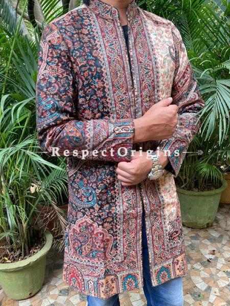 Multi-Color Lavish Formal Mens Designer Detailing Jamavar Jacket in Wool Blend; Silken Lining; RespectOrigins.com
