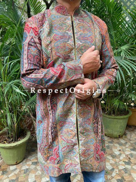 Brown Floral Design Lavish Formal Mens Designer Detailing Jamavar Jacket in Wool Blend; Silken Lining; RespectOrigins.com