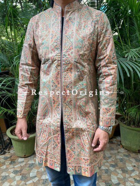 Brown Floral Design Luxurious  Formal Mens Designer Detailing Jamavar Jacket in Wool Blend; Silken Lining; RespectOrigins.com