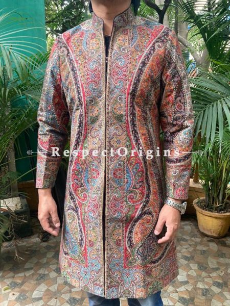 Stunning Formal Mens Designer Detailing Jamavar Jacket in Wool Blend; Silken Lining; RespectOrigins.com