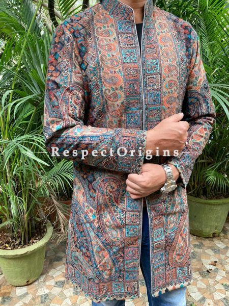 Lavish Floral Design  Formal Mens Designer Detailing Jamavar Jacket in Wool Blend; Silken Lining; RespectOrigins.com