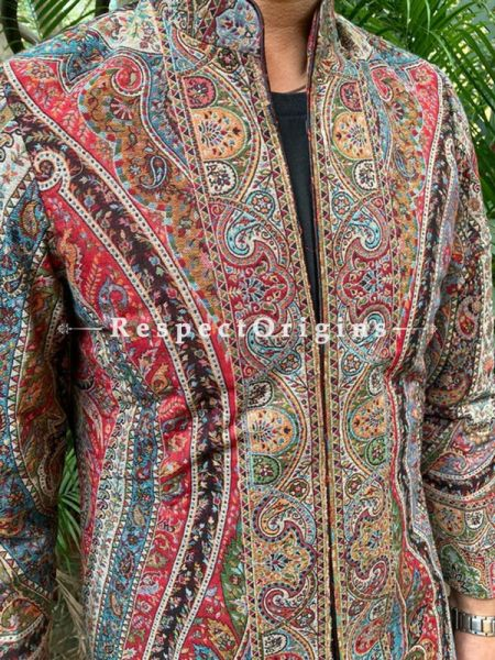 Lavish Red Floral Design Formal Mens Designer Detailing Jamavar Jacket in Wool Blend; Silken Lining; RespectOrigins.com