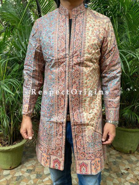 Brown Floral Design  Formal Mens Designer Detailing Jamavar Jacket in Wool Blend; Silken Lining; RespectOrigins.com