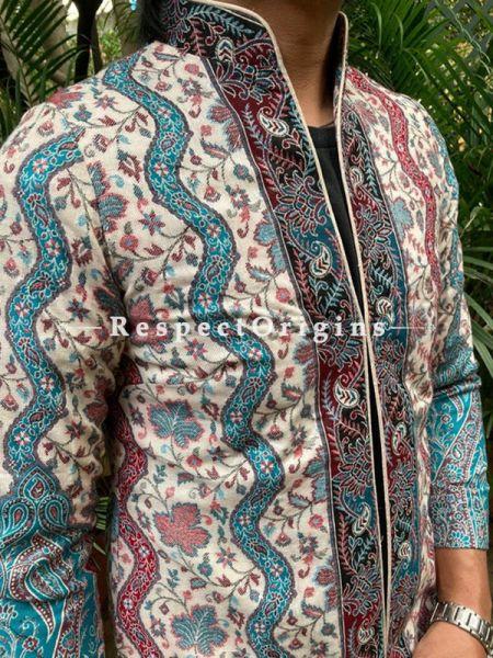 Red and Blue Floral Design Formal Mens Designer Detailing Jamavar Jacket in Wool Blend; Silken Lining; RespectOrigins.com