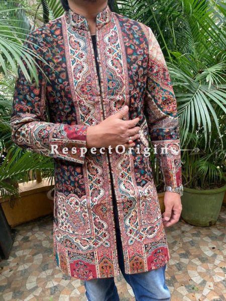Opulent Formal Mens Designer Detailing Jamavar Jacket in Wool Blend; Silken Lining; RespectOrigins.com