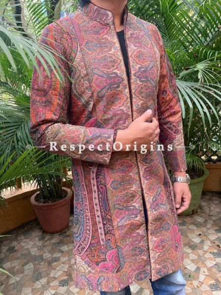 Luxuriant Formal Mens Designer Detailing Jamavar Jacket in Wool Blend; Silken Lining; RespectOrigins.com