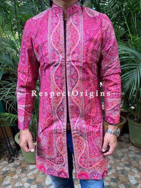 Lavish Pink Formal Mens Designer Detailing Jamavar Jacket in Wool Blend; Silken Lining; RespectOrigins.com