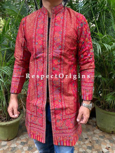 Red Lavish Formal Mens Designer Detailing Jamavar Jacket in Wool Blend; Silken Lining; RespectOrigins.com