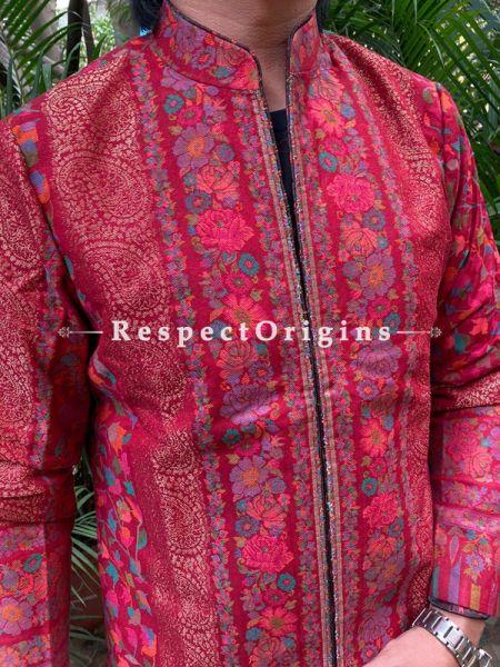 Red Luxurious Formal Mens Designer Detailing Jamavar Jacket in Wool Blend; Silken Lining; RespectOrigins.com
