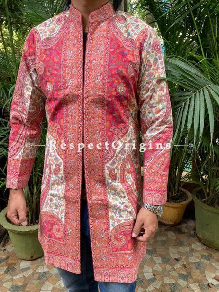White Lavish Formal Mens Designer Detailing Jamavar Jacket in Wool Blend; Silken Lining; RespectOrigins.com