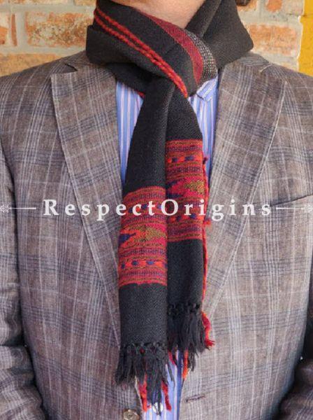 Black; Wool; Hand Woven; Men Scarf; 80x27 inches, RespectOrigins.com