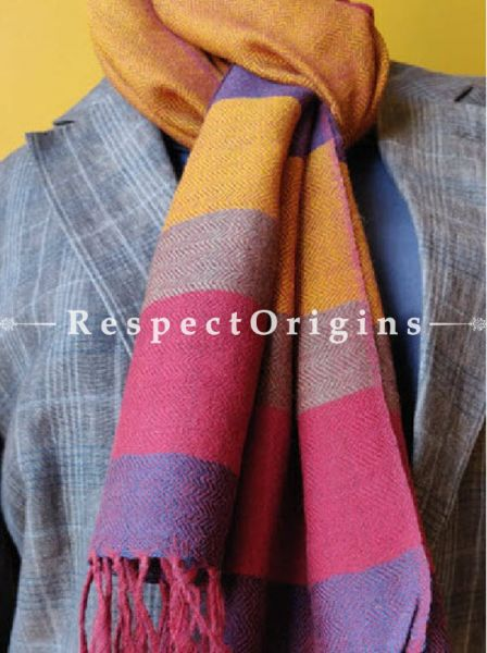 Peach; Wool; HAnd Woven; Men Scarf; 80x27 inches