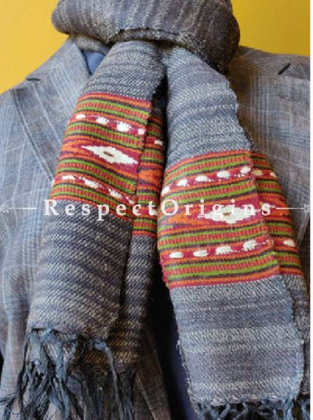 Grey; Wool; Hand Woven; Men Scarf; 80x27 inches, RespectOrigins.com