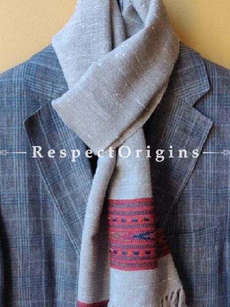Grey; Wool; Hand Woven; Men Scarf; 80x27 inches, RespectOrigins.com