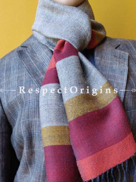 Grey; Woolen; Hand Woven; Men Scarf; 80x27 inches, RespectOrigins.com