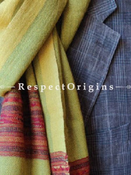 Yellow; Wool; Hand Woven; Men Scarf; 80x27 inches, RespectOrigins.com