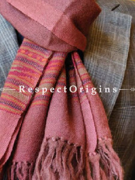 Pink; Wool; Hand Woven; Men Scarf; 80x27 inches, RespectOrigins.com