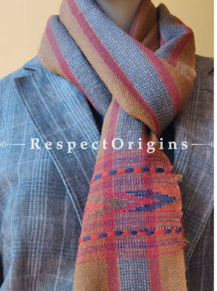 Striped Blue; Wool; Hand Woven; Men Scarf; 80x27 inches, RespectOrigins.com