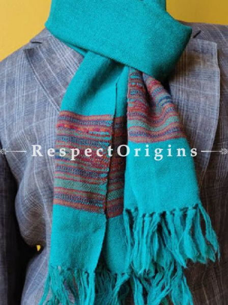 Turquoise Blue; Wool; Hand Woven; Men Scarf; 80x27 inches, RespectOrigins.com