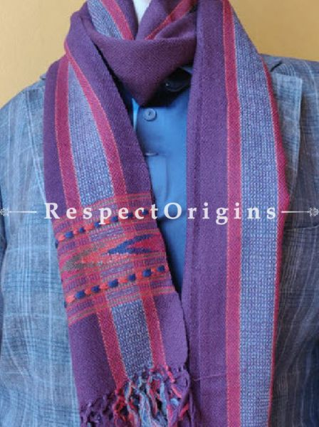 Striped Purple; Wool; Hand Woven; Men Scarf; 80x27 inches, RespectOrigins.com