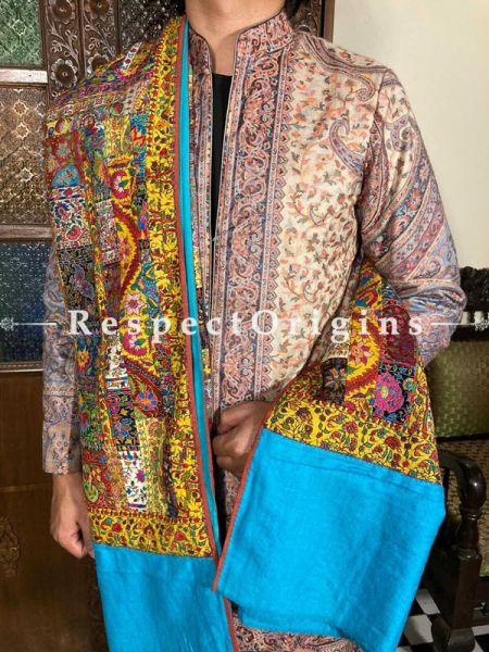 Splendid Blue Mens Pashmina Kashmiri Shawl Sozni Embroidery; 82 X 37 Inches; RespectOrigins.com