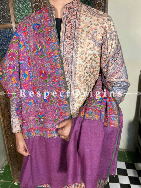 Lavish Mens Pashmina Kashmiri Shawl in Violet with Sozni Embroidery; 80 X 37 Inches; RespectOrigins.com