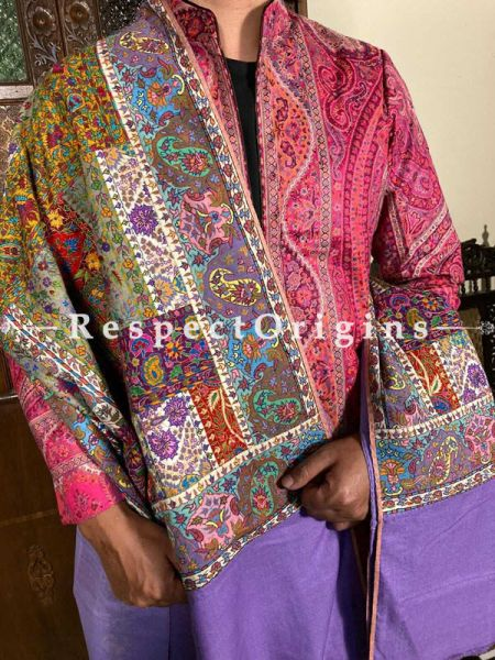 Lush Mens Pashmina Kashmiri Shawl in  Purple with Sozni Embroidery; 82 X 36 Inches; RespectOrigins.com