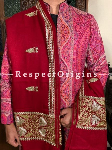 Fabulous Red Mens Pashmina Kashmiri Shawl Sozni Embroidery; 82 X 41 Inches; RespectOrigins.com