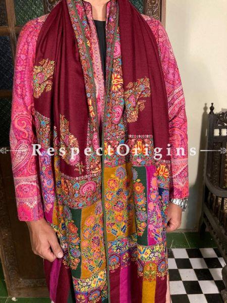 Amazing MaroonMens Pashmina Kashmiri Shawl Sozni Embroidery; 100 X 50 Inches; RespectOrigins.com