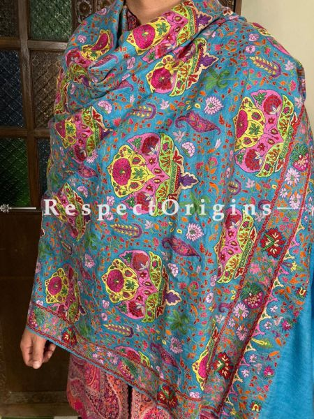 Phenomenal Blue Mens Pashmina Kashmiri Shawl Sozni Embroidery; 80 X 40 Inches; RespectOrigins.com