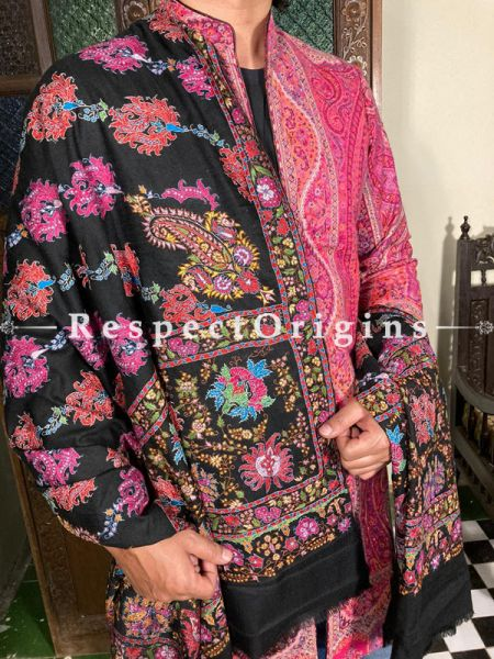 Exceptional Mens Pashmina Kashmiri Shawl in Black with Sozni Embroidery; 86 X 44 Inches; RespectOrigins.com