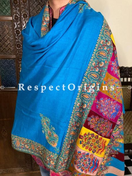 Fantastic Mens Pashmina Kashmiri Shawl in Blue with Sozni Embroidery; 88 X 44 Inches; RespectOrigins.com