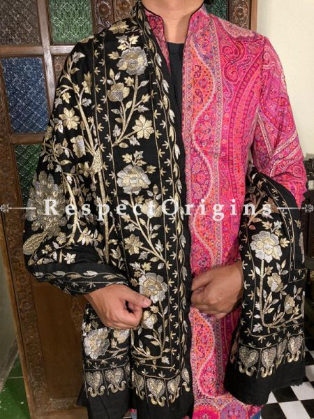 Remarkable Mens Pashmina Kashmiri Shawl in Black with Tilla Embroidery; 88 X 46 Inches; RespectOrigins.com