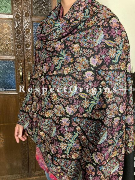 Stupendous Mens Pashmina Kashmiri Shawl in Black with Tilla Embroidery; 90 X 45 Inches; RespectOrigins.com
