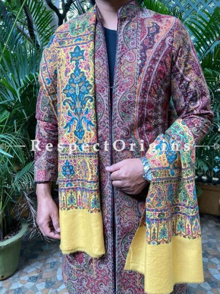 Pale Yellow Mens Pashmina Kashmiri Shawl Sozni Embroidery; 82 X 41 Inches; RespectOrigins.com