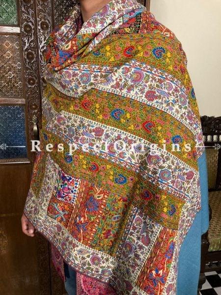 Exceptional Work Mens Pashmina Kashmiri Shawl in Blue with Sozni Embroidery; 80 X 40 Inches; RespectOrigins.com