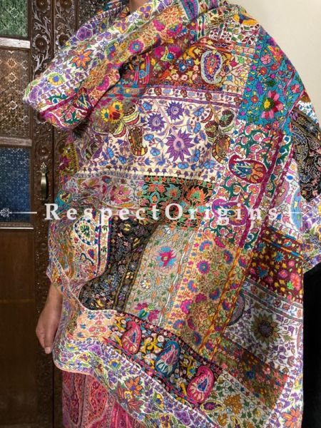 Mens Pashmina Kashmiri Shawl in Multi Color with Sozni Embroidery; 78 X 38 Inches; RespectOrigins.com