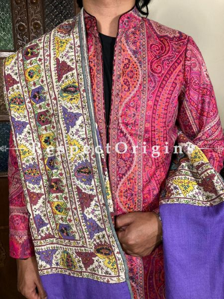Mens Pashmina Kashmiri Shawl in Purple  with Sozni Embroidery; 76 X 41 Inches; RespectOrigins.com