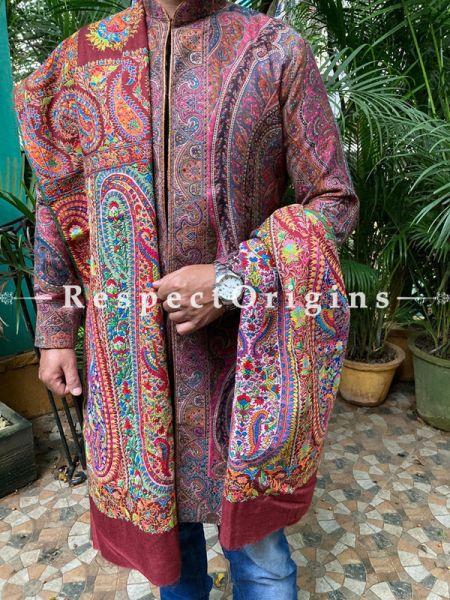 Grand Mens Pashmina Kashmiri Shawl Sozni Embroidery; 106 X 50 Inches; RespectOrigins.com