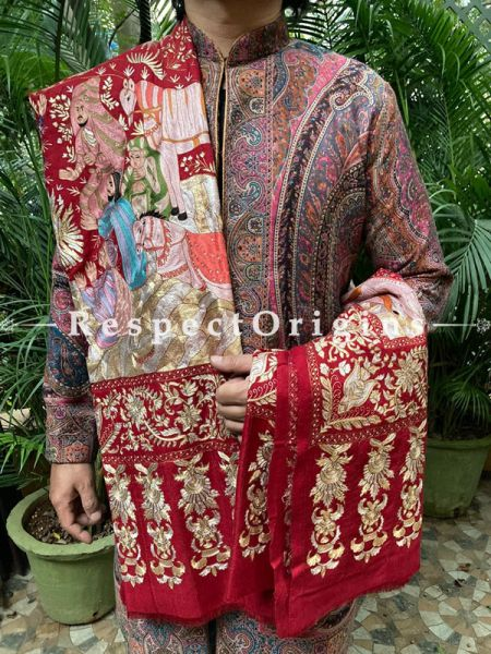 Magnificent Mens Red Pashmina Kashmiri Shawl Sozni Embroidery; 86 X 41 Inches; RespectOrigins.com