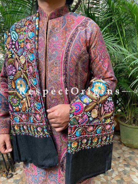 Opulent Mens Pashmina Kashmiri Shawl Sozni Embroidery; 82 X 41 Inches; RespectOrigins.com