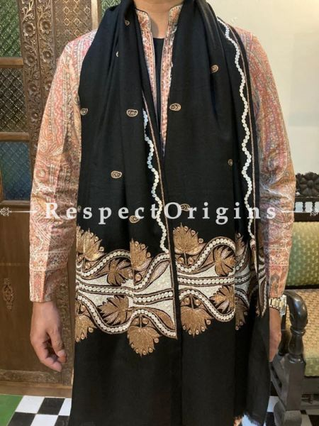 Luxurious Tilla Gold Embroidery on Black Pashmina Kashmiri Mens Shawl; 80 X  40 Inches; RespectOrigins.com