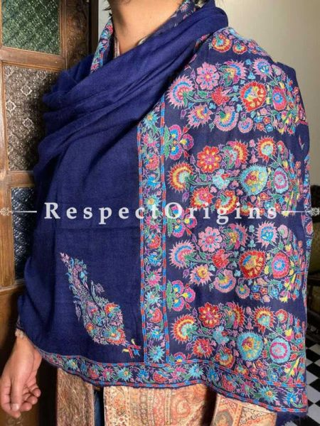 Royal Blue Mens Pashmina Kashmiri Shawl Sozni Embroidery; 80 X 40 Inches; RespectOrigins.com
