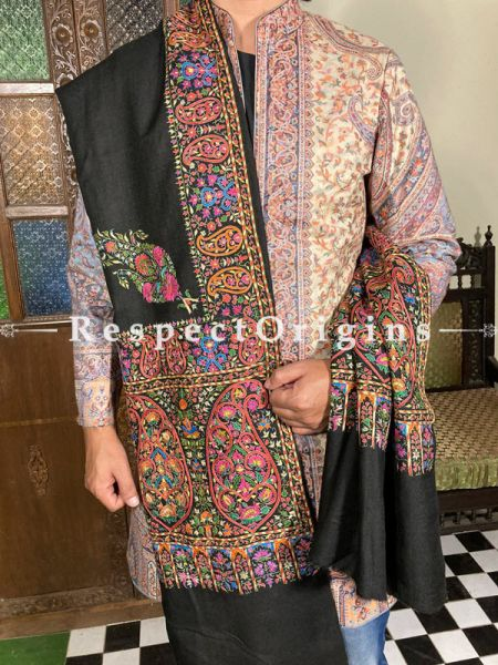 Magnificent Mens Pashmina Kashmiri Shawl in Black with SozniEmbroidery; 88 X 44 Inches; RespectOrigins.com