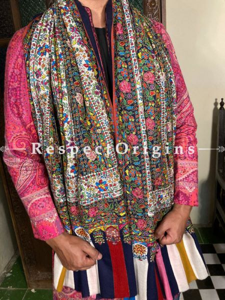 Lush Mens Pashmina Kashmiri Shawl with Sozni Embroidery; 80 X 40 Inches; RespectOrigins.com