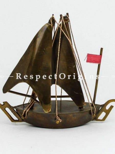 Buy 18 inches Brown Wood Sail Boat Ship Art Sculpture Nautical Ocean Sea Beach Decor At RespectOrigins.com
