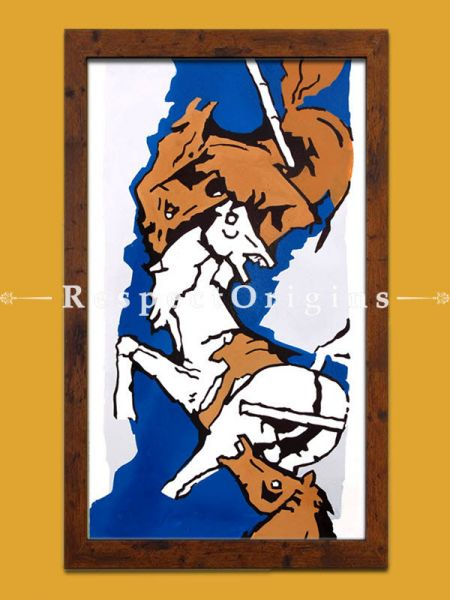 M.F Hussain Reproduction 2 Horses in Brown and White Series/ Acrylic on Canvas Modern Art Painting: 18x32 in